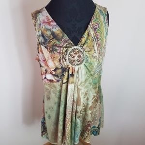 Dress Barn Bohemian Abstract Sleeveless Top XLarge